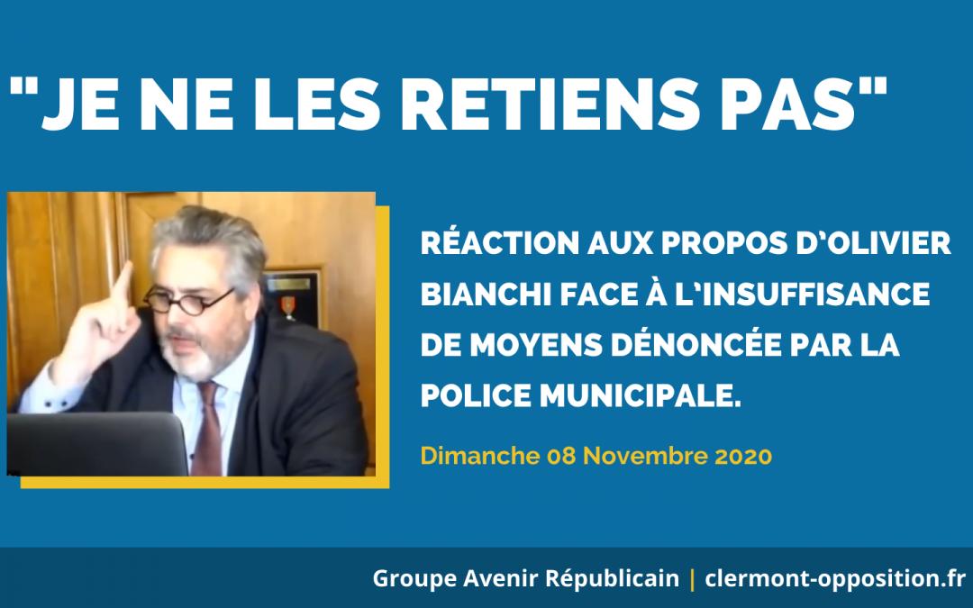 «Je ne les retiens pas» – réaction aux propos d'Olivier Bianchi face à l'insuffisance de moyens dénoncée par la police municipale.