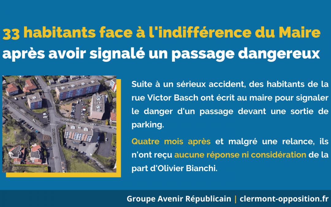 33 habitants face à l'indifférence du Maire après avoir signalé un passage dangereux rue Victor Basch