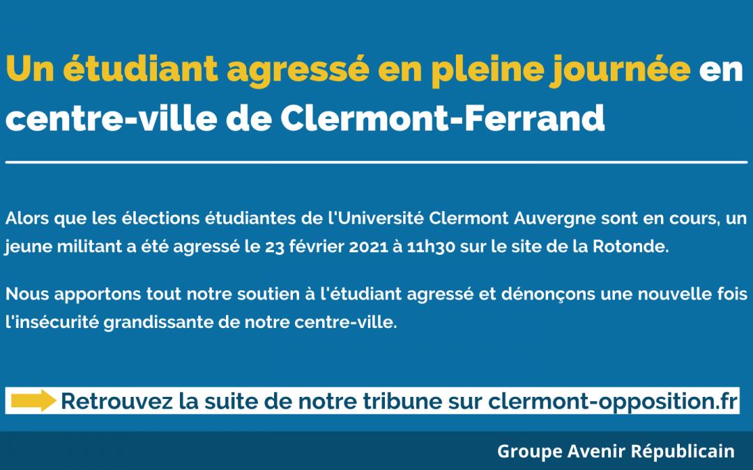 Un étudiant agressé en pleine journée en centre-ville de Clermont-Ferrand