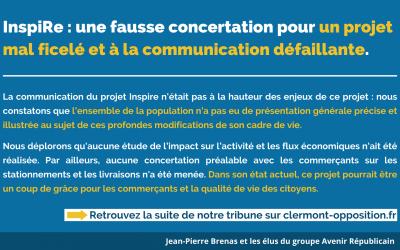 InspiRe : une fausse concertation pour un projet  mal ficelé et à la communication défaillante.