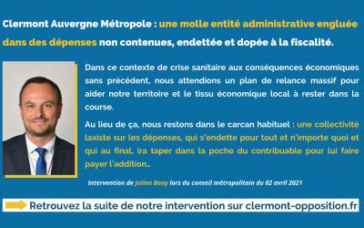 Clermont Auvergne Métropole : une molle entité administrative engluée dans des dépenses non contenues, endettée et dopée à la fiscalité.