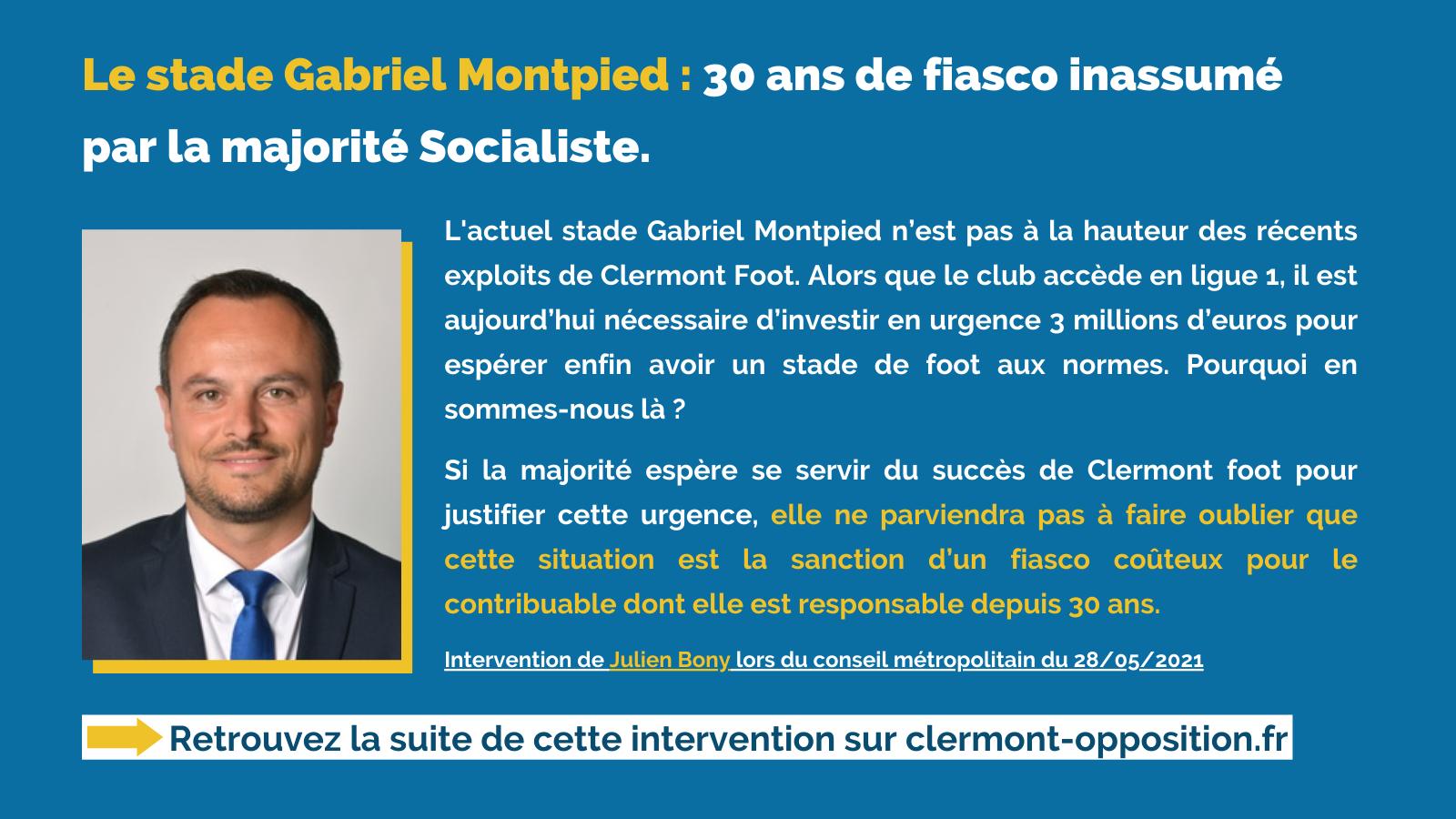 Intervention de Julien Bony au sujet du stade Gabriel Montpied