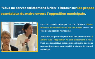 «Vous ne servez strictement à rien» : Retour sur les propos scandaleux du maire envers l'opposition municipale.